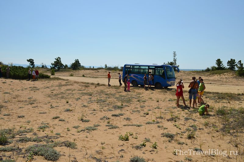 Первая остановка на песчаной косе у Баргузинского залива